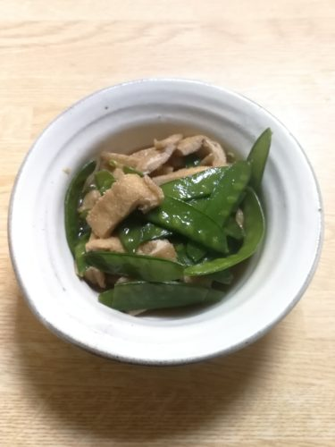 Abura-Age and Mangetout mixed stew   simple recipes from Japanese kitchen